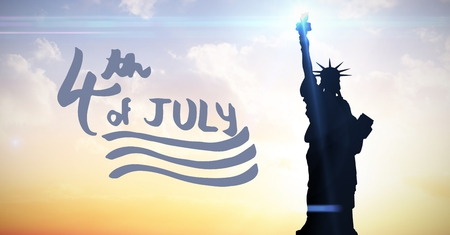 Digital composite of Blue fourth of July graphic against evening sky with statue of liberty Stock Photo