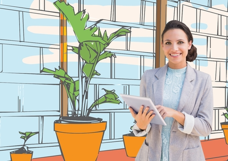 digital composite: Digital composite of young happy businesswoman in the  office lines with tablet. White colors Stock Photo