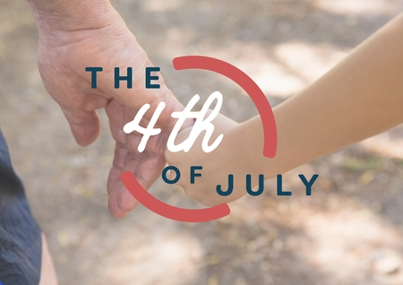 meditation man: Digital composite of Fourth of July graphic against close up of father and son holding hands