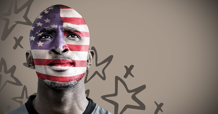 digital composite: Digital composite of 3D Portraiture of man with american flag face paint against brown background with hand drawn star patte Stock Photo