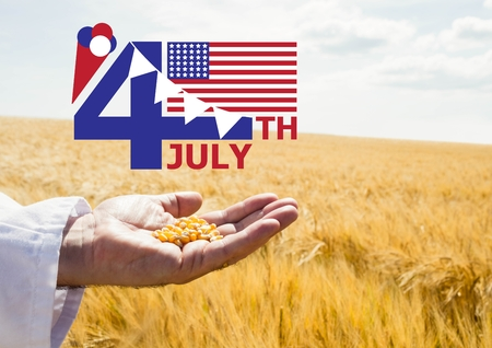 Digital composite of Fourth of July graphic with flags and ice cream against cornfield and hand holding corn