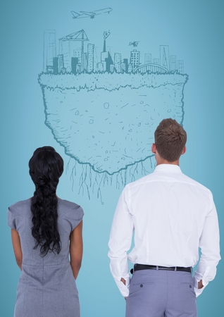 Digital composite of Back of business people against blue background and 3D city earth doodle