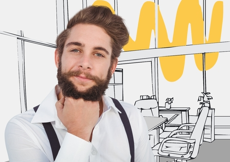 hand on chin: Digital composite of Millennial man chin on hand against 3D grey and yellow hand drawn office