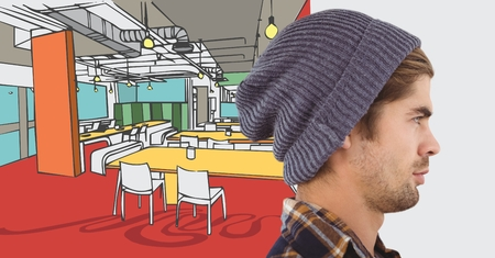 Digital composite of Millennial man in beanie against 3D hand drawn office and white transition