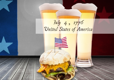 Digital composite of Poster of independence day with burger and beer