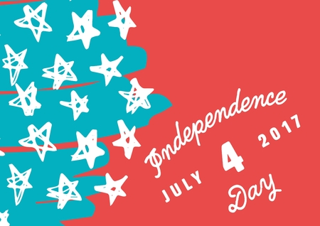 photographing: Digital composite of White slanted fourth of July graphic against hand drawn star pattern and red background