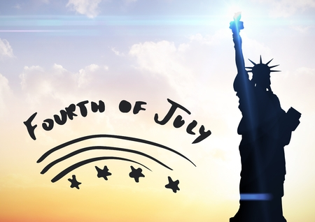 digital composite: Digital composite of Grey fourth of July graphic against evening sky with statue of liberty Stock Photo
