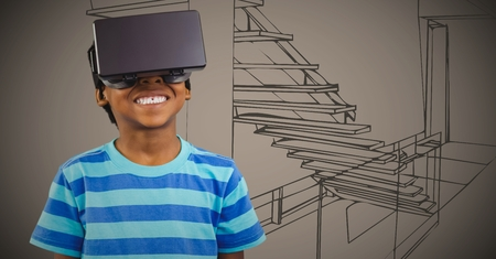 staircases: Digital composite of Boy in virtual reality headset against brown hand drawn office Stock Photo