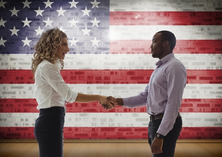 floorboards: Digital composite of Business people shaking their hand against american flag