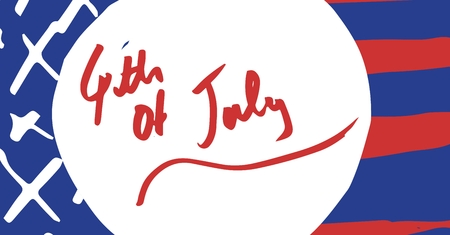 Digital composite of Red fourth of July graphic in white circle against hand drawn american flag