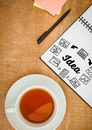 manos unidas: Compuesto digital de Idea doodle en el bloc de notas al lado de la pluma y el té