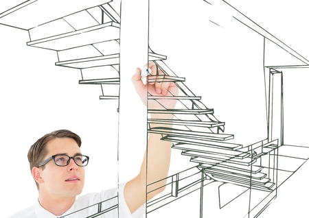 cross legged: Digital composite of young man drawing 3D office stairs green lines on the screen