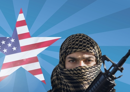 Digital composite of Soldier with weapon in front of american flag in star