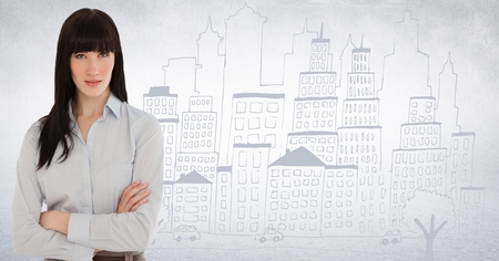 Digital composite of Business woman arms folded against white wall and city doodle