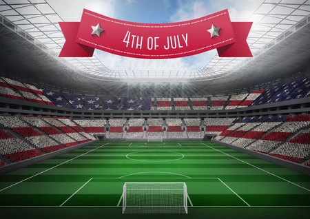 Digital composite of poster of independence day with football court