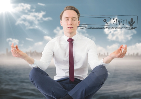 Digital composite of Business man meditating against blurry skyline and water with 3D search bar