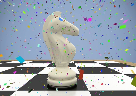 tactics: Digital composite of 3D Chess piece against purple background with confetti