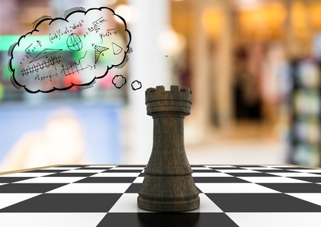 tactics: Digital composite of 3D Chess piece against blurry background and thought cloud  with math doodles