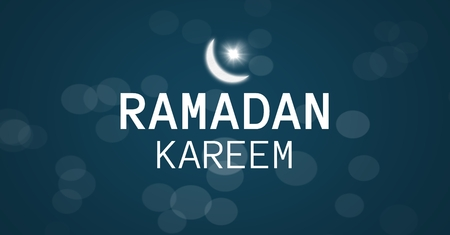stealer: Digital composite of White Ramadan graphic with flare and bokeh against blue background Stock Photo