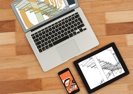 staircases: Digital composite of laptop, tablet and phone on a desk. On tablet 3D white and black blueprint and on phone and laptop with