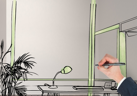 Drawing Lines In Office : Digital composite of d hand drawing office fictitious lines