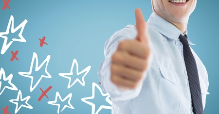 well dressed: Digital composite of Business man mid section giving thumbs up against 3D blue background with red and white hand drawn star Stock Photo