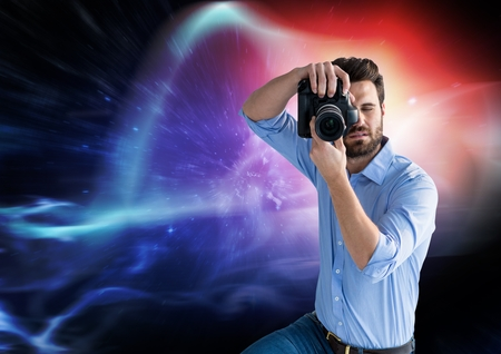 Digital composite of Photographer taking pictures against colorful background