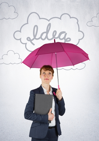 well dressed woman: Digital composite of Business woman with pink umbrella against white wall and 3D idea doodle