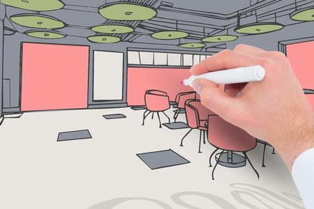 Digital composite of Man coloring a 3D drawing