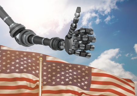 scrolling: Digital composite of Robot with thumbs up against the sky and 3D american flag Stock Photo