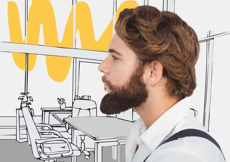 stealer: Digital composite of Millennial man with beard against 3D grey and yellow hand drawn office Stock Photo