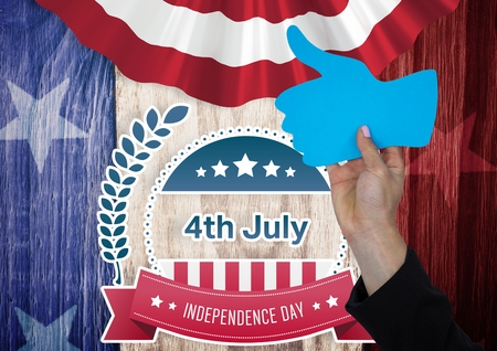Digital composite of Part of man holding a thumb up against american flag