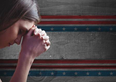 Digital composite of Thinking woman against american flag background Stock Photo