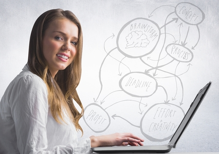 Digital composite of Woman at laptop against 3D concept doodle and white wall Stock Photo