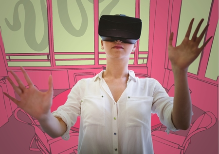 Digital composite of Woman in virtual reality headset against green and pink hand drawn office Stock Photo