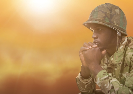 Digital composite of Military thinking against yellow background Stock Photo