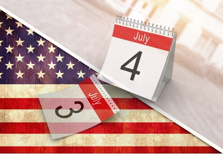 Digital composite of 4th of July calendar against american flag Stock Photo