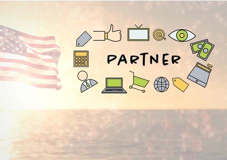 海とアメリカ国旗に対してパートナー アイコン s の合成画像のデジタル合成