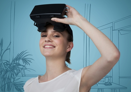 Digital composite of Woman in virtual reality headset against blue hand drawn windows