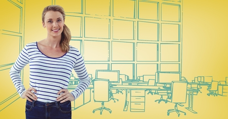 sketch out: Digital composite of Millennial woman hands on hips against 3D yellow and blue hand drawn office
