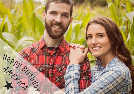 Digital composite of Grey and white fourth of July graphic against couple in cornfield Stock Photo