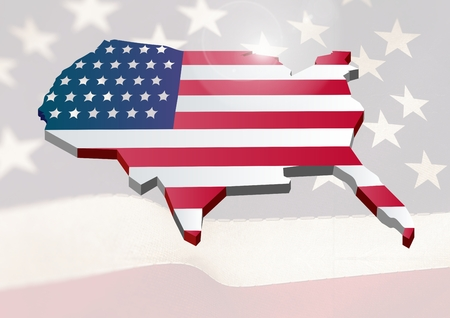 national identity: Digital composite of USA map covered by the american flag Stock Photo