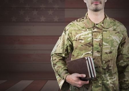 Digital composite of Military holding books against 3D american flag