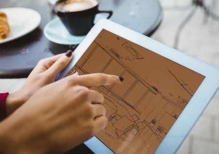 digital composite: Digital composite of 3D blueprint on tablet ( two-tone> brown and orange)