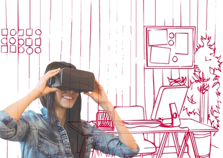 stealer: Digital composite of happy young woman with 3D glasses overlap with  office red lines