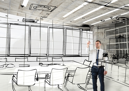 man holding transparent: Digital composite of business man 3D drawing fictitious  office lines in the office Stock Photo