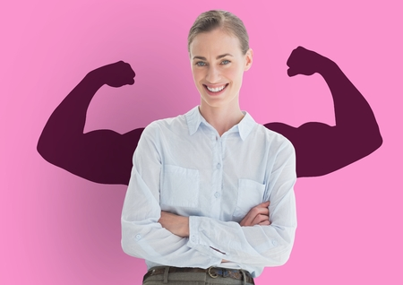 Digital composite of happy businesswoman hand folded in front of fists dark pink draw on pink wall Stock Photo
