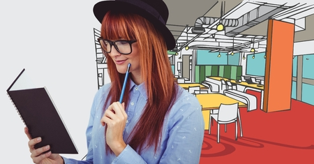 fringe: Digital composite of Millennial woman with notebook against 3D hand drawn office and white transition