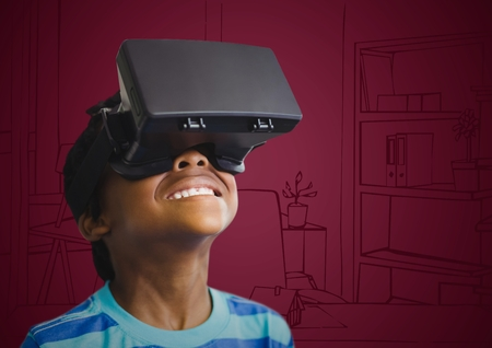 composite image: Digital composite of Boy in virtual reality headset against maroon hand drawn office