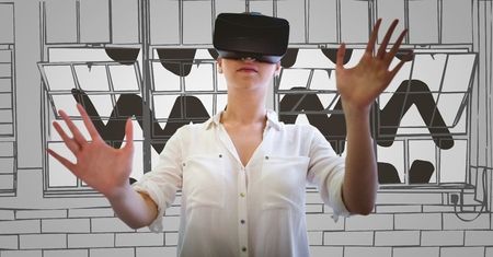 digital composite: Digital composite of Woman in virtual reality headset hands out against 3D grey hand drawn windows Stock Photo